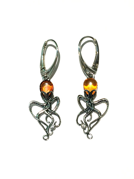 Baltic Amber Octopus Dangles | Sterling Silver Earrings | Light Years Jewelry