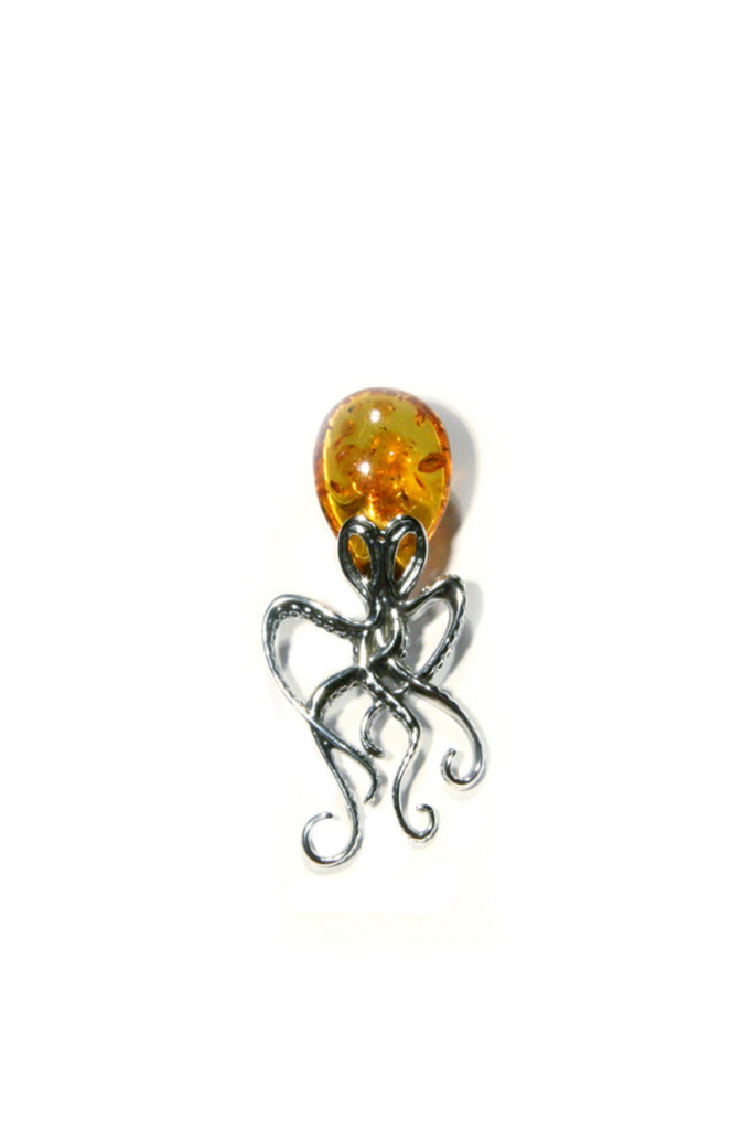 Amber Octopus Pendant, $74 | Sterling Silver | Light Years Jewelry