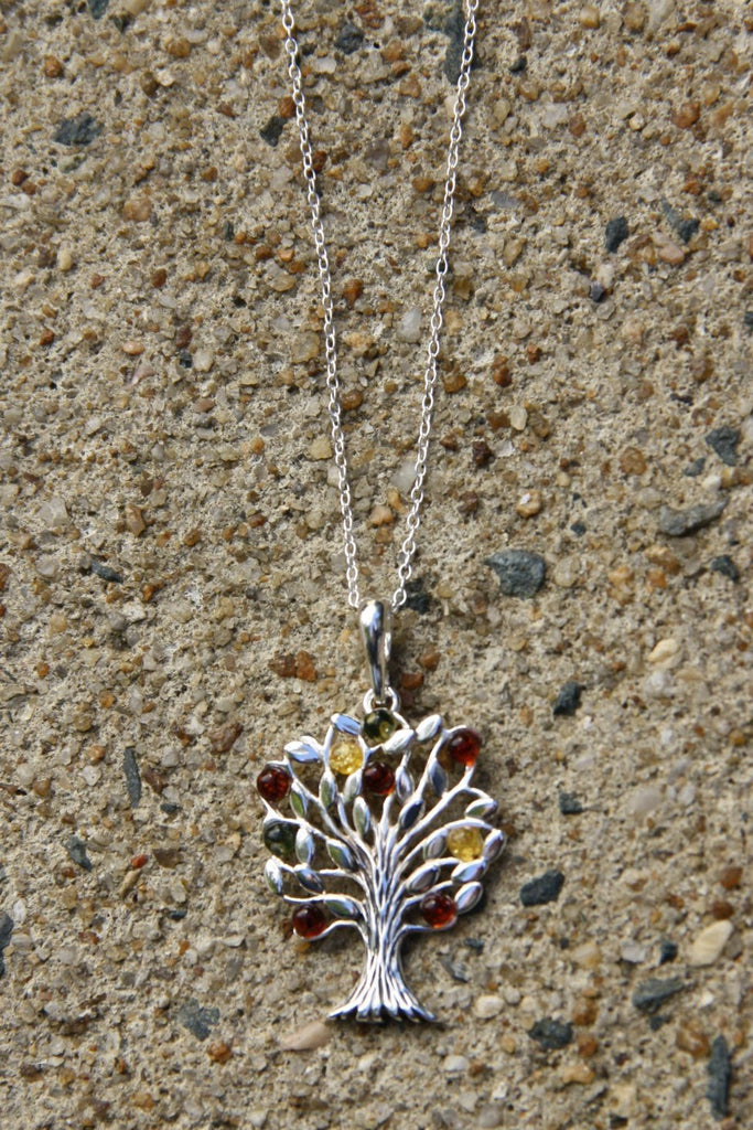 Baltic Amber Tree of Life Pendant, $36 | Silver Necklace | Light Years