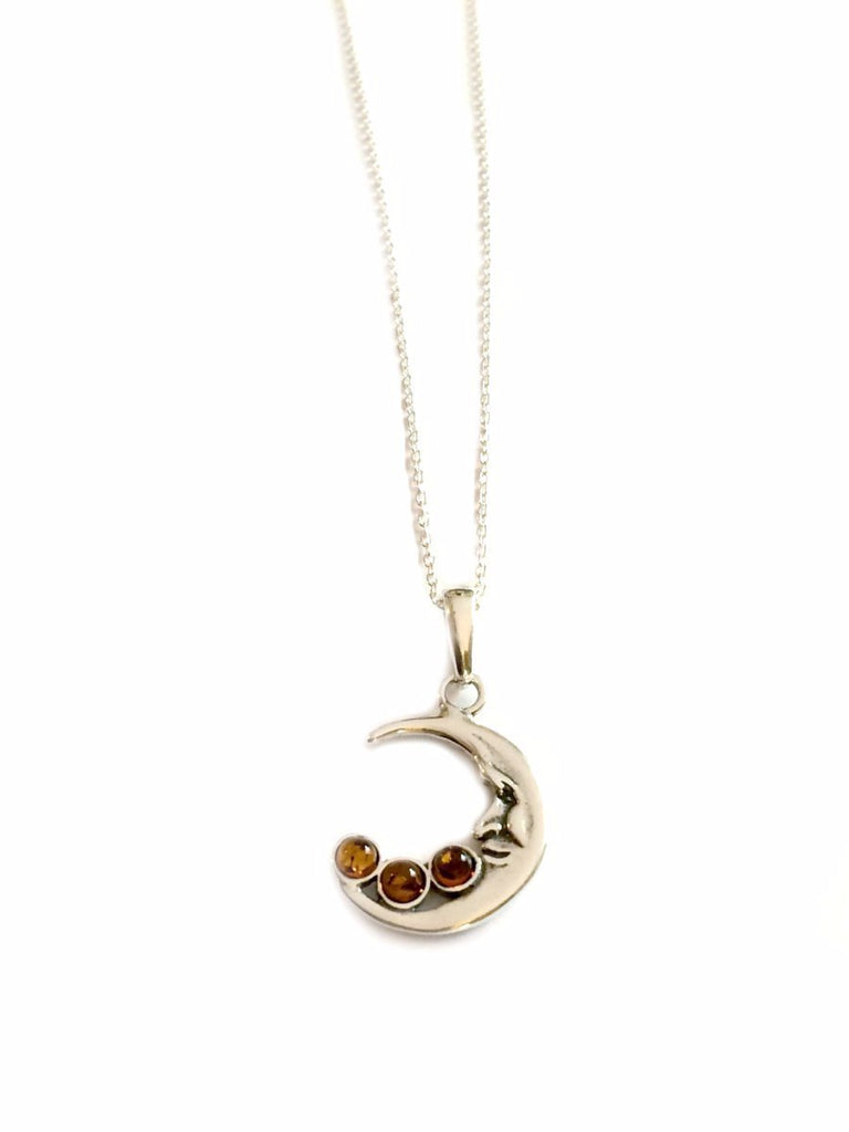 Baltic Amber Crescent Moon Necklace | Sterling Silver | Light Years