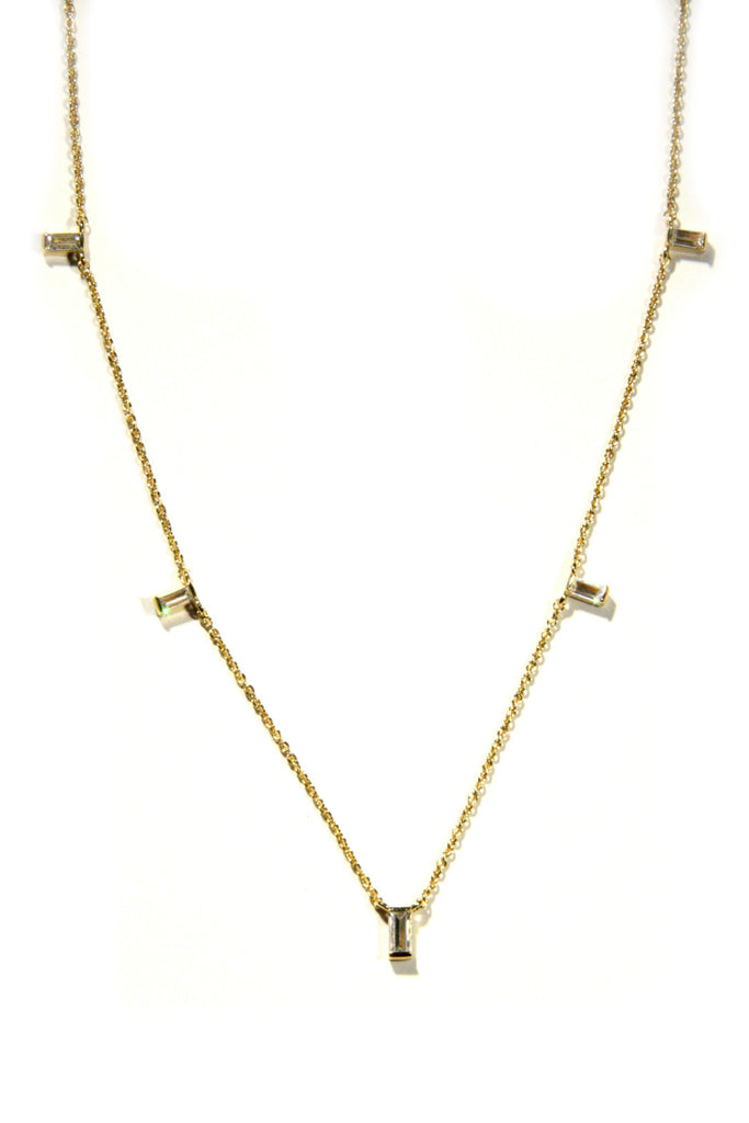 Floating CZ Baguette Necklace | Gold Plated | Light Years Jewelry