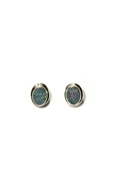 Bali Oval Opal Posts, $22 | Sterling Silver | Light Years Jewelry