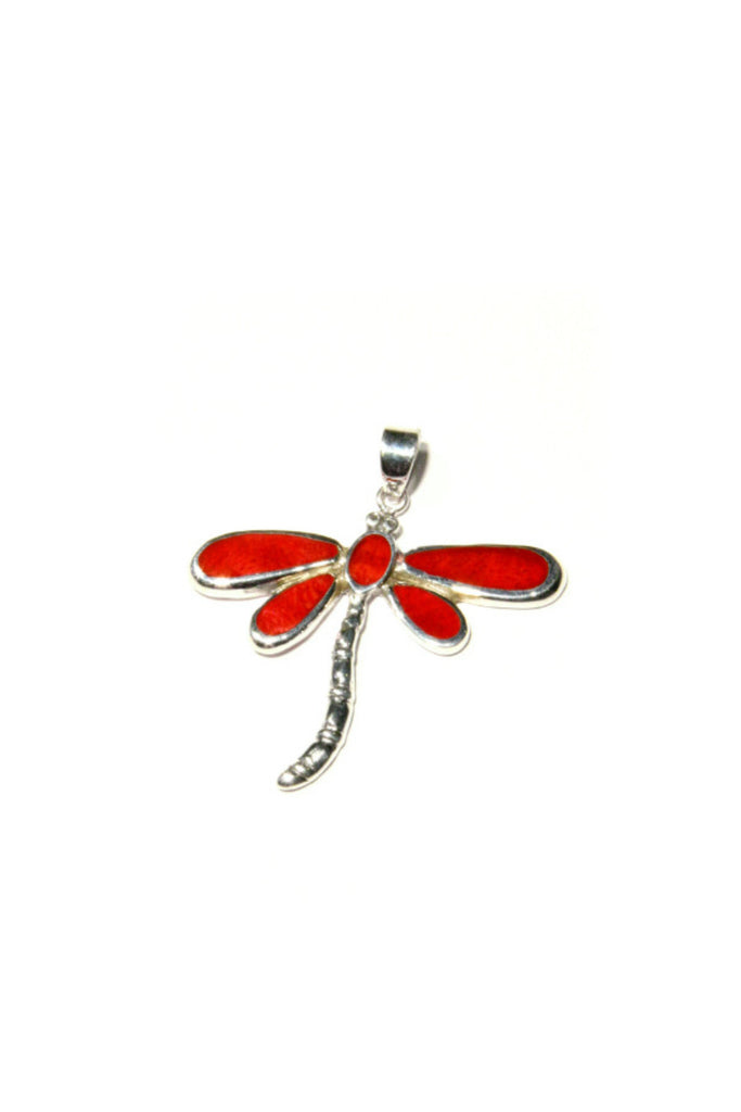 Coral Dragonfly Pendant, $22 | Sterling Silver | Light Years Jewelry