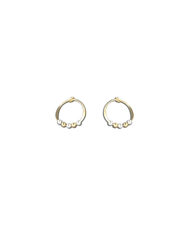 Mixed Metal Beaded Hoops | 14k Gold Filled Earrings | Light Years