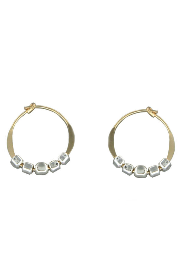 Gold Fill Hoops with Silver Beads | Handmade Earrings | Light Years