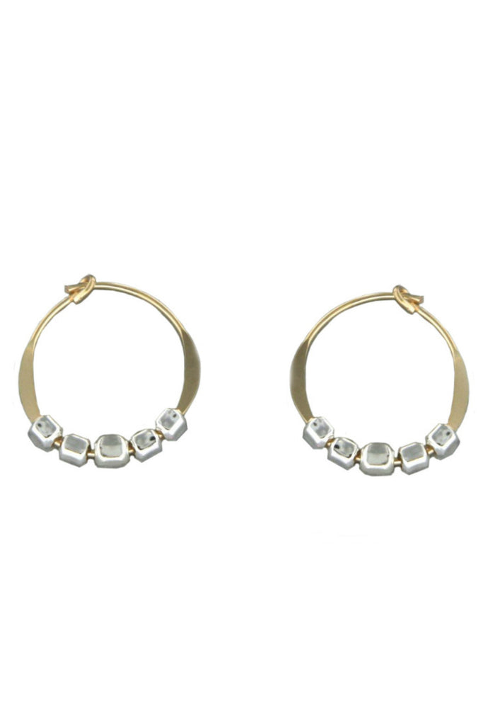 Gold Hoops with Silver Beads, $15 | Handmade Earrings | Light Years