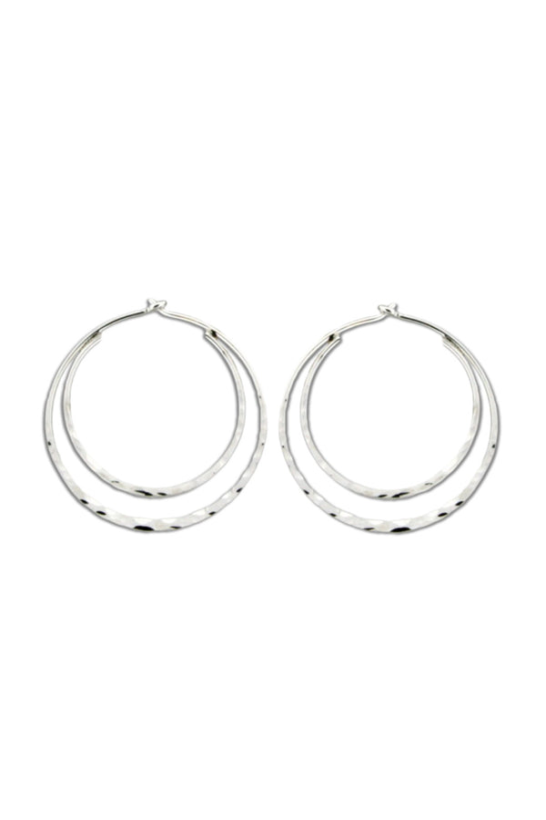 Double Hammered Hoops | Sterling Silver Earrings | Light Years Jewelry