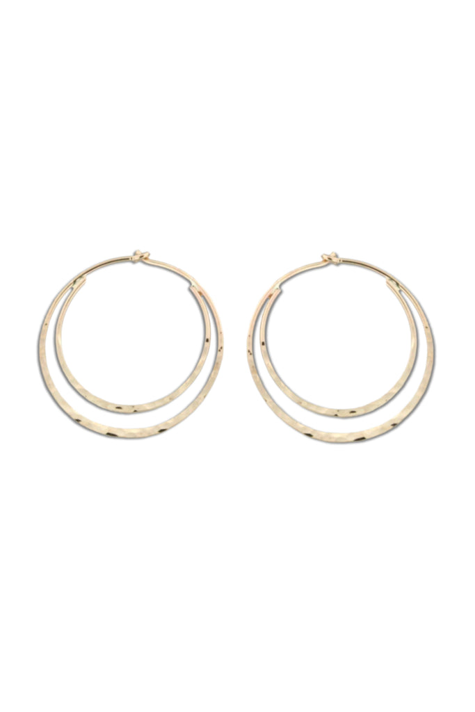 Double Hammered Hoops | Silver or Gold | Light Years Jewelry