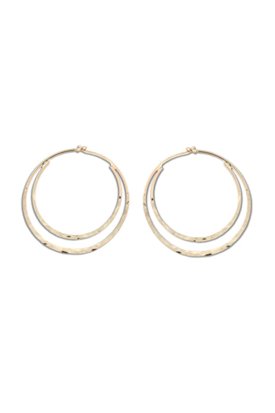 Double Hammered Hoops, $16-20 | Silver or Gold | Light Years Jewelry