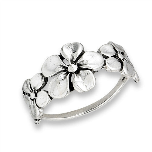 Triple Flower Ring | Sterling Silver Size 6 7 8 9 | Light Years Jewelry