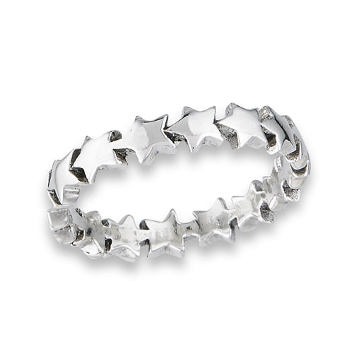Band of Stars Ring | Sterling Silver Size 7 8 9 10 | Light Years Jewelry