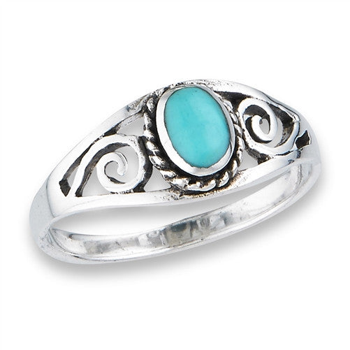 Turquoise Scroll Ring | Size 5 6 7 8 9 Sterling Silver | Light Years
