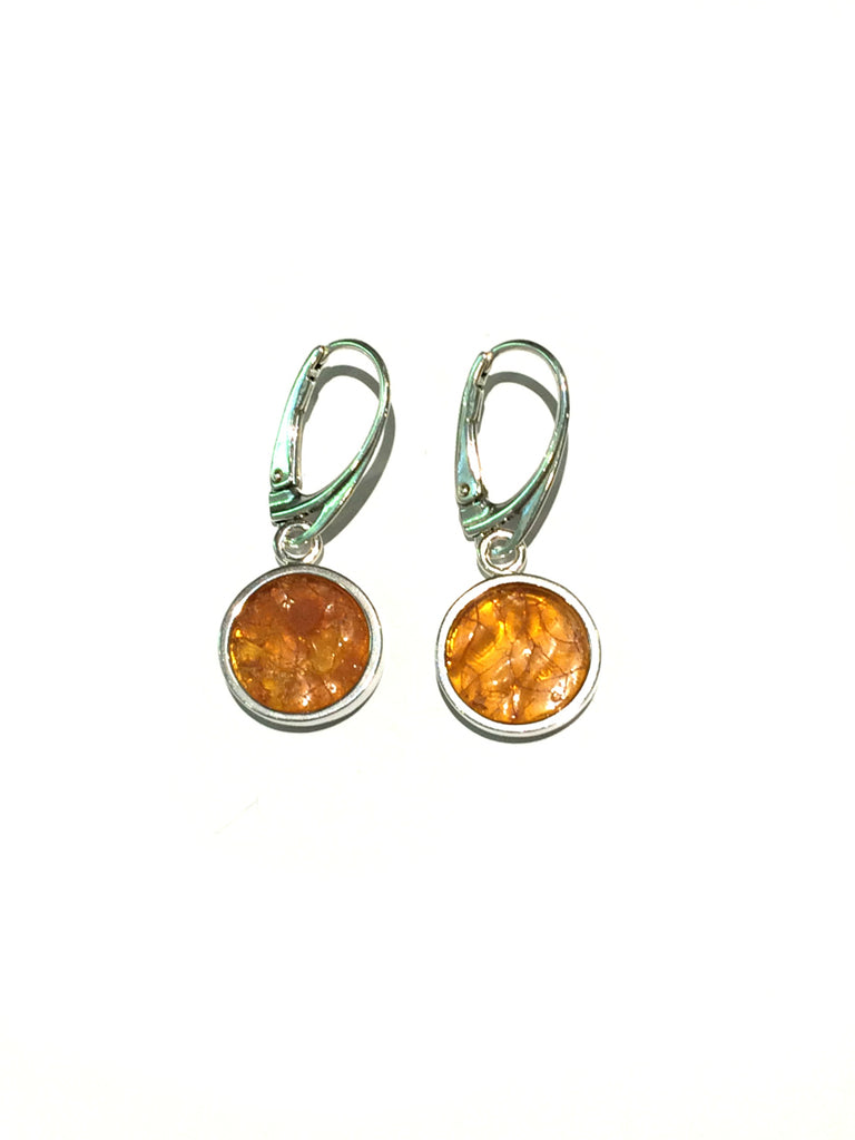Organic Amber Circle Earrings | Sterling Silver | Light Years Jewelry