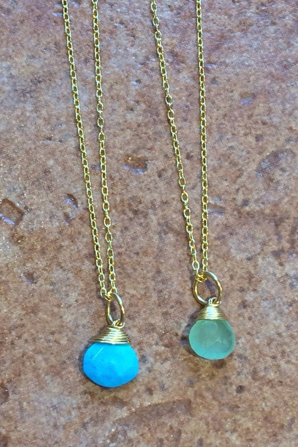 Gold Wrapped Stone Necklace, $24 | Vermeil Pendant Chain | Light Years