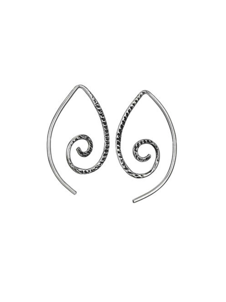 Textured Swirl Earrings | Sterling Silver Ear Thread | Light Years