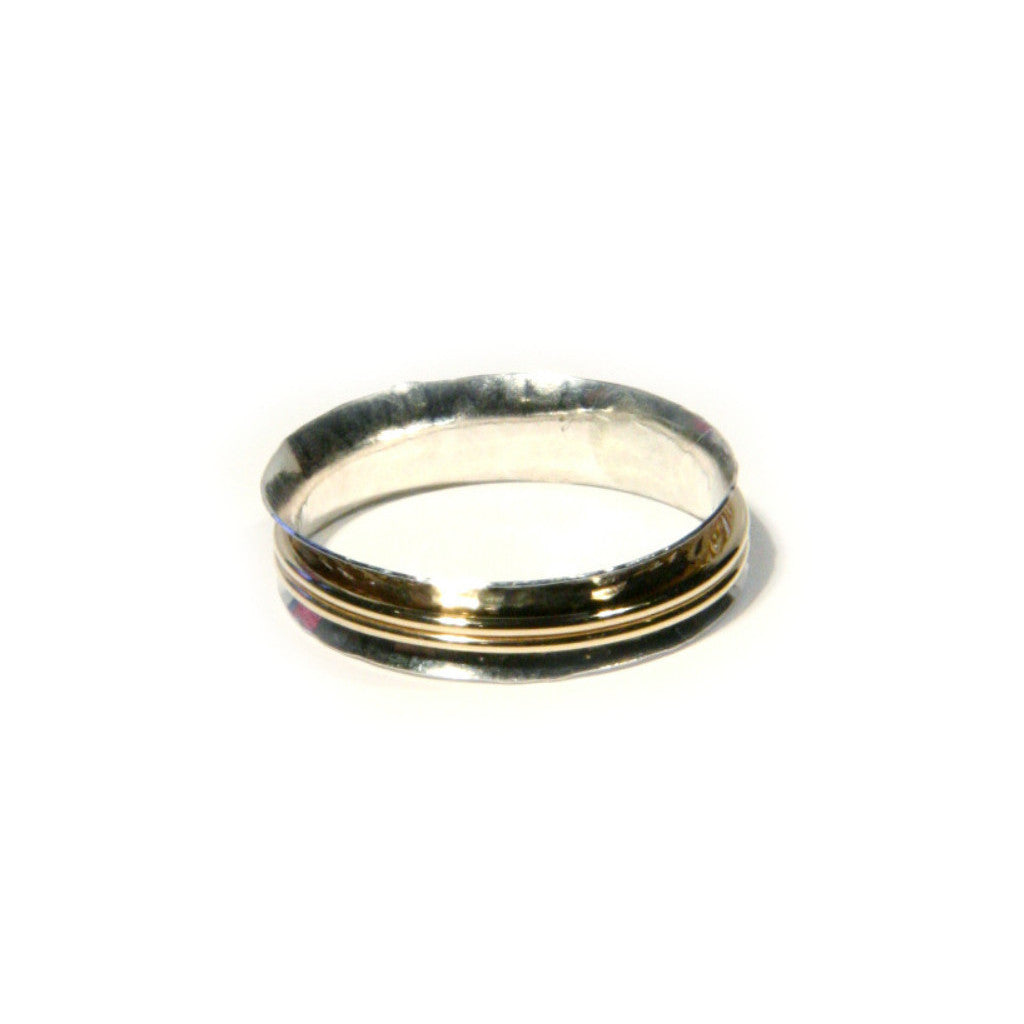 Mixed Metal Spin Ring | Sterling Silver Size 6 7 8 9 10 | Light Years