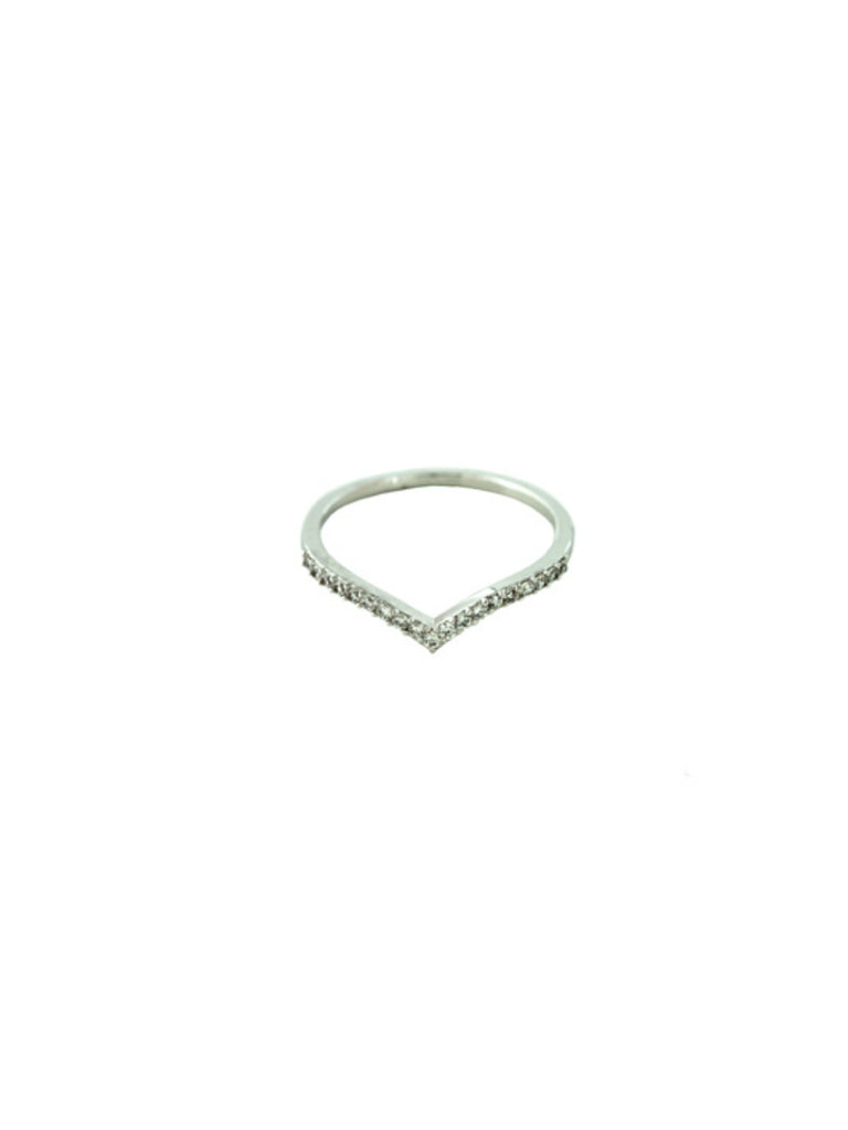 CZ Chevron Ring | Silver Plated Size 6 7 8 | Light Years Jewelry