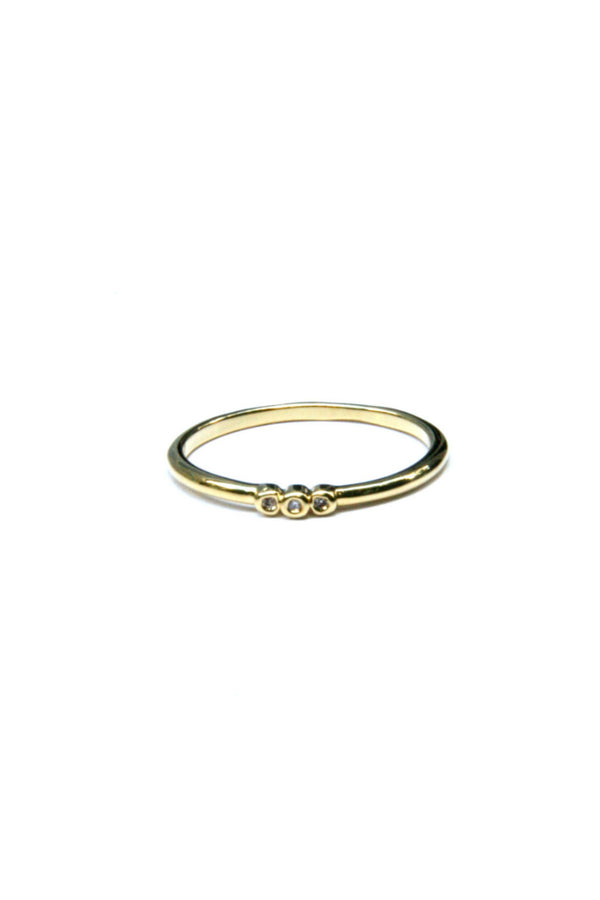 Triple CZ Ring | Gold Plated Band Size 6 7 8 | Light Years Jewelry