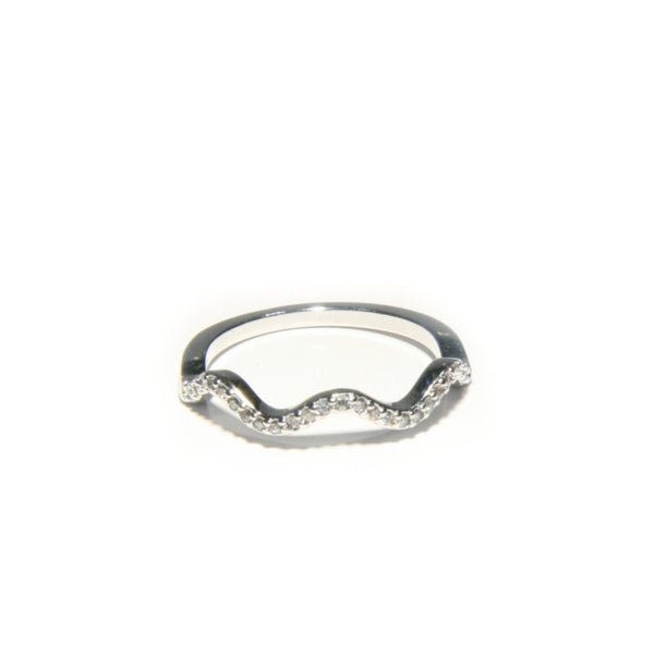 CZ Wave Ring | Silver Plated band Size 5 7 8 | Light Years Jewelry