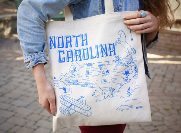 North Carolina Map Tote Bag
