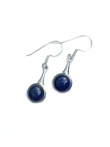 Round Lapis Drop Dangles | Sterling Silver Earrings | Light Years