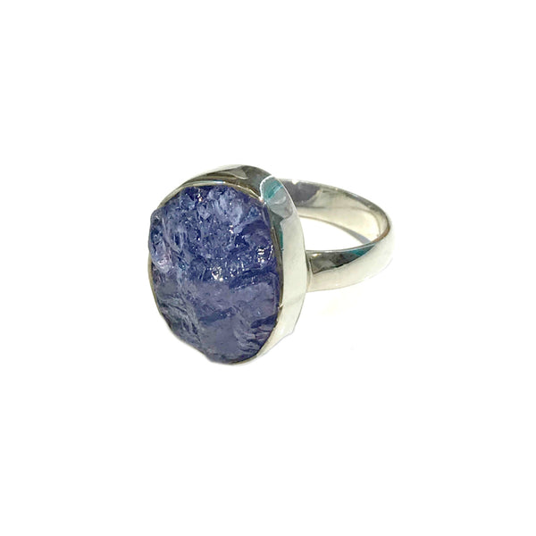 Asymmetrical Tanzanite Ring | Size 8 9 Sterling Silver | Light Years