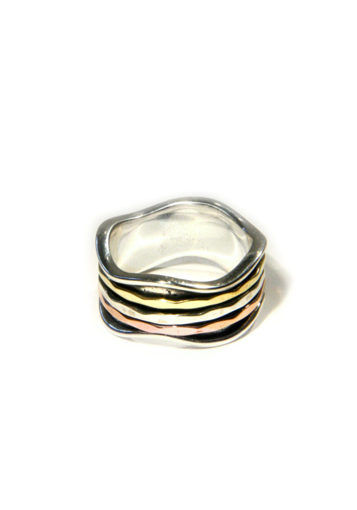 Wide Trimetal Band, $48 | Sterling Silver | Light Years Jewelry