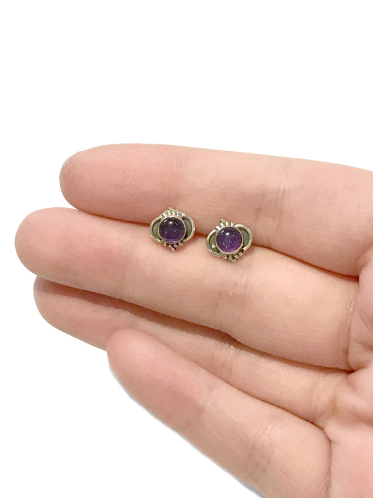 Arabesque Gemstone Posts | Amethyst | Sterling Silver Studs Earrings | Light Years