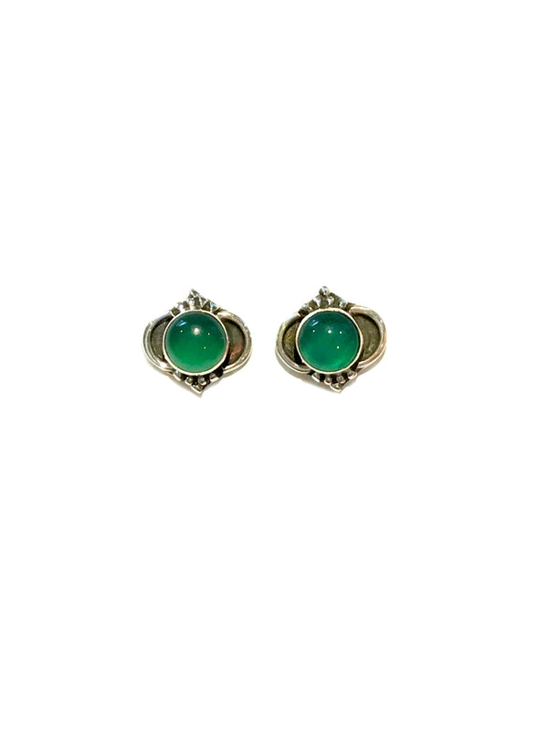 Arabesque Gemstone Posts | Green Onyx | Sterling Silver Studs Earrings | Light Years