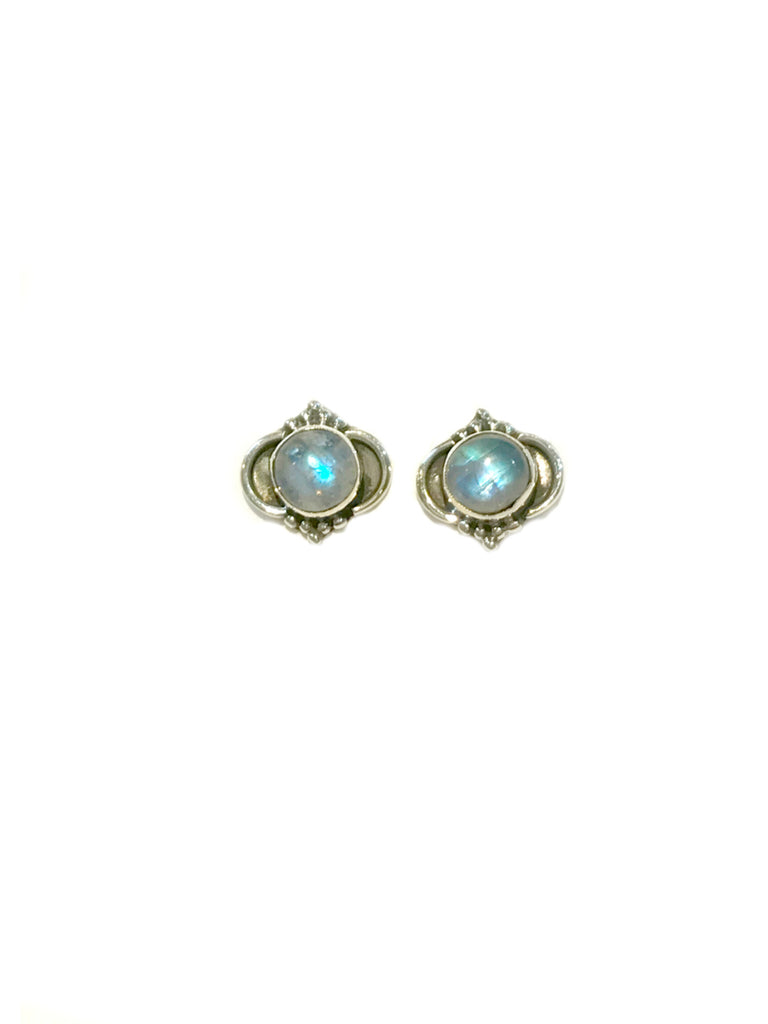 Arabesque Gemstone Posts | Moonstone | Sterling Silver Studs Earrings | Light Years