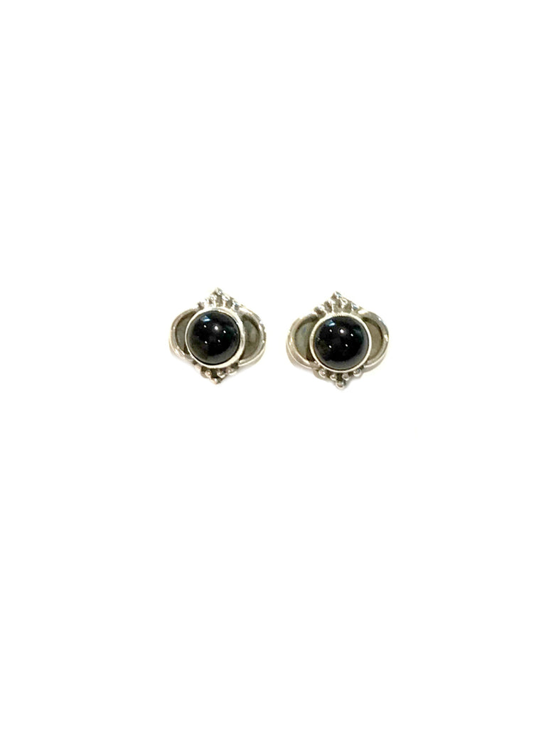 Arabesque Gemstone Posts | Onyx | Sterling Silver Studs Earrings | Light Years