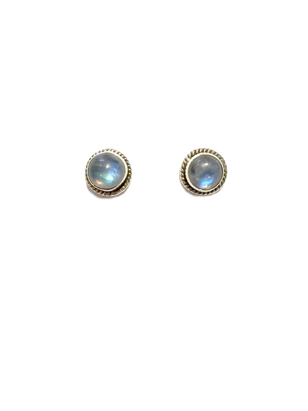 Decorative Moonstone Posts | Sterling Silver Studs Earrings | Light Years