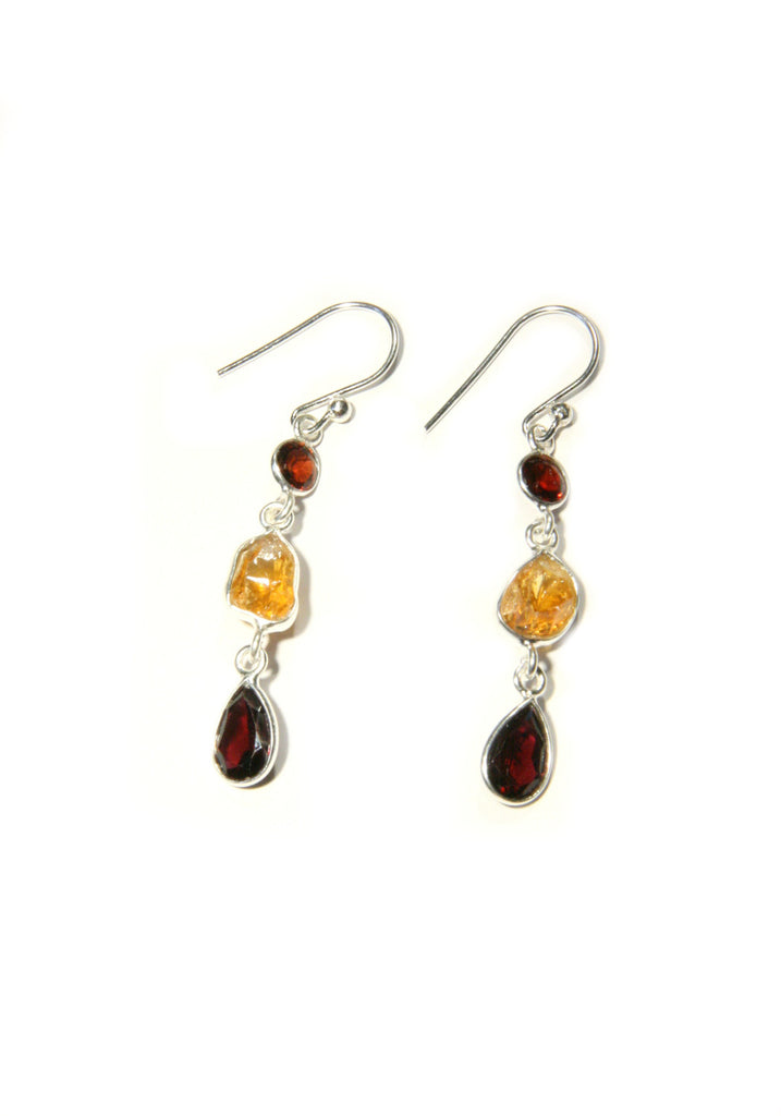 Citrine & Garnet Dangles, $22 | Sterling Silver | Light Years Jewlery