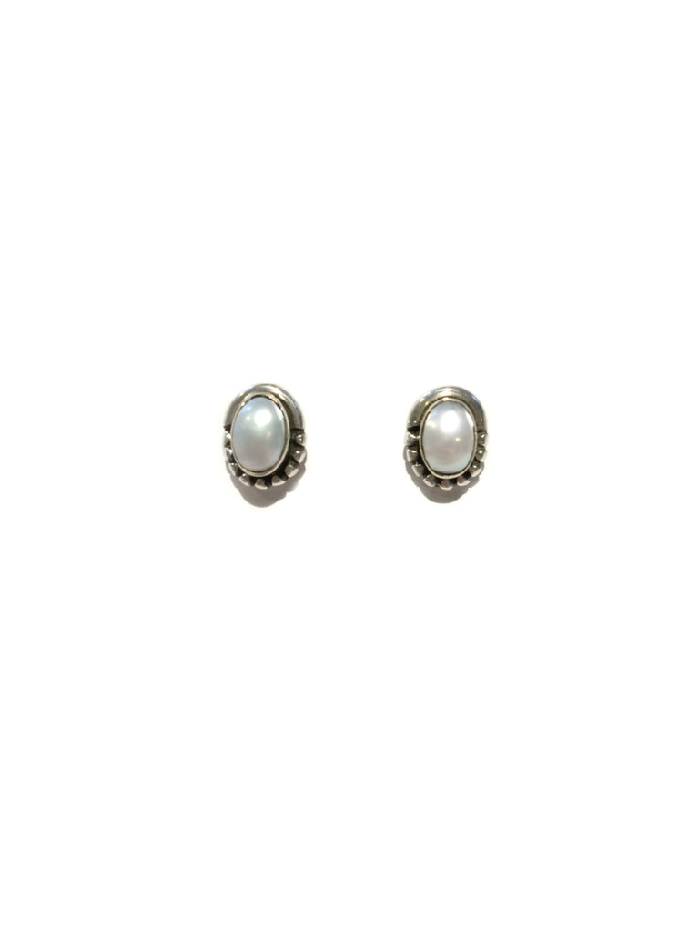 Oval Pearl Posts | Sterling Silver Studs Earrings | Light Years Jewelry