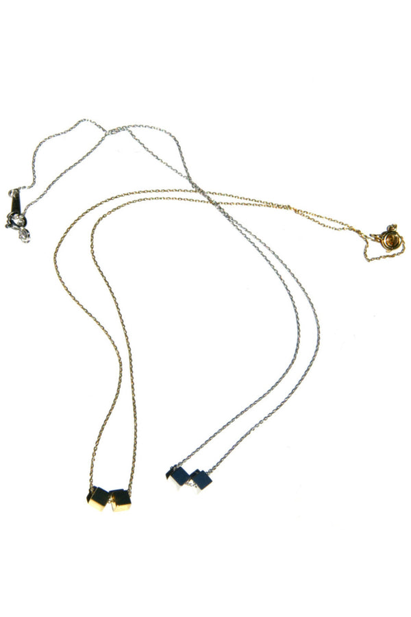Double Cube Necklace, $19 | Silver or Gold Chain | Light Years Jewelry