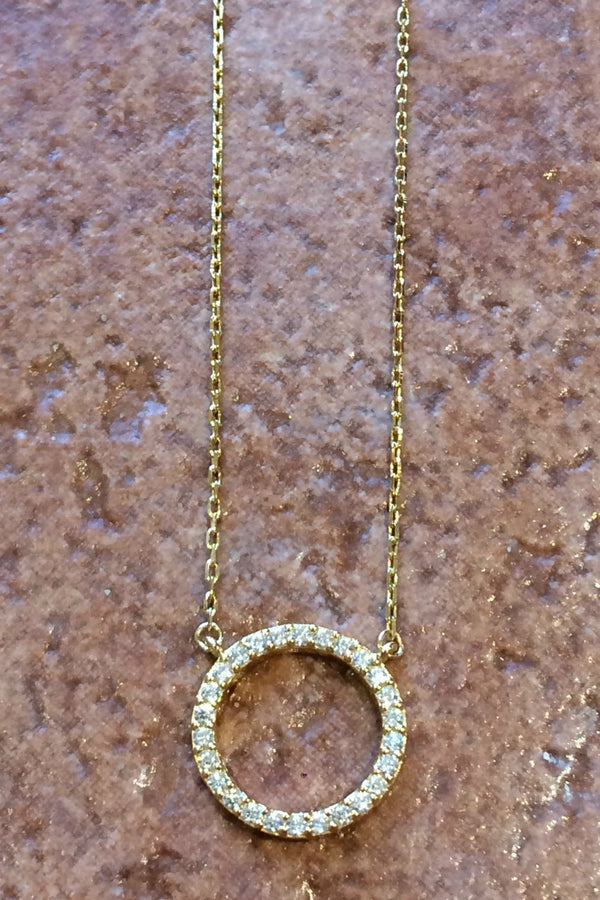 CZ Ring Necklace | Sterling Silver Gold Vermeil | Light Years Jewelry