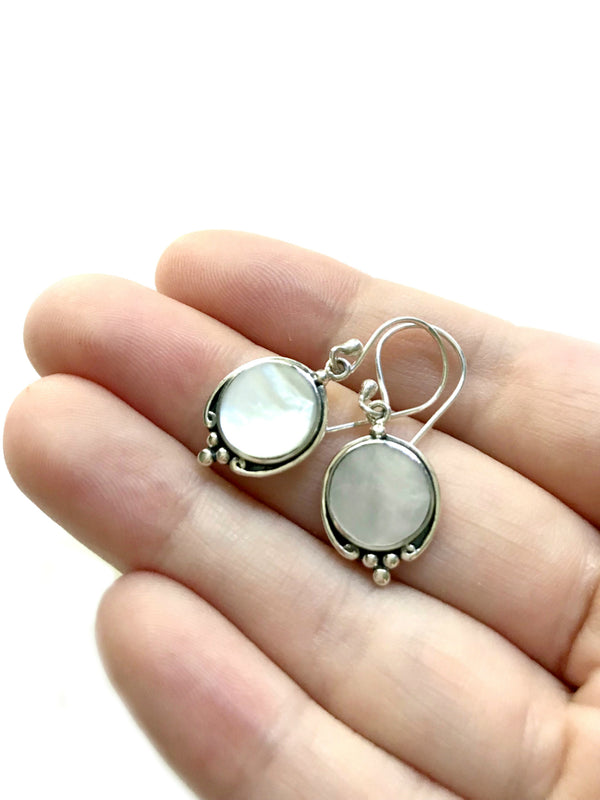 Elegant Shell Dangles | Mother of Pearl Sterling Silver Earrings | Light Years