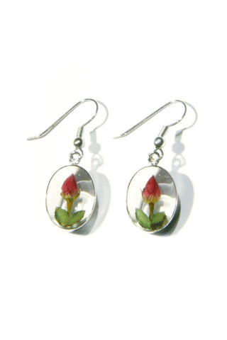 Rose Bud Earrings | Real Miniature Flowers | Light Years Jewelry