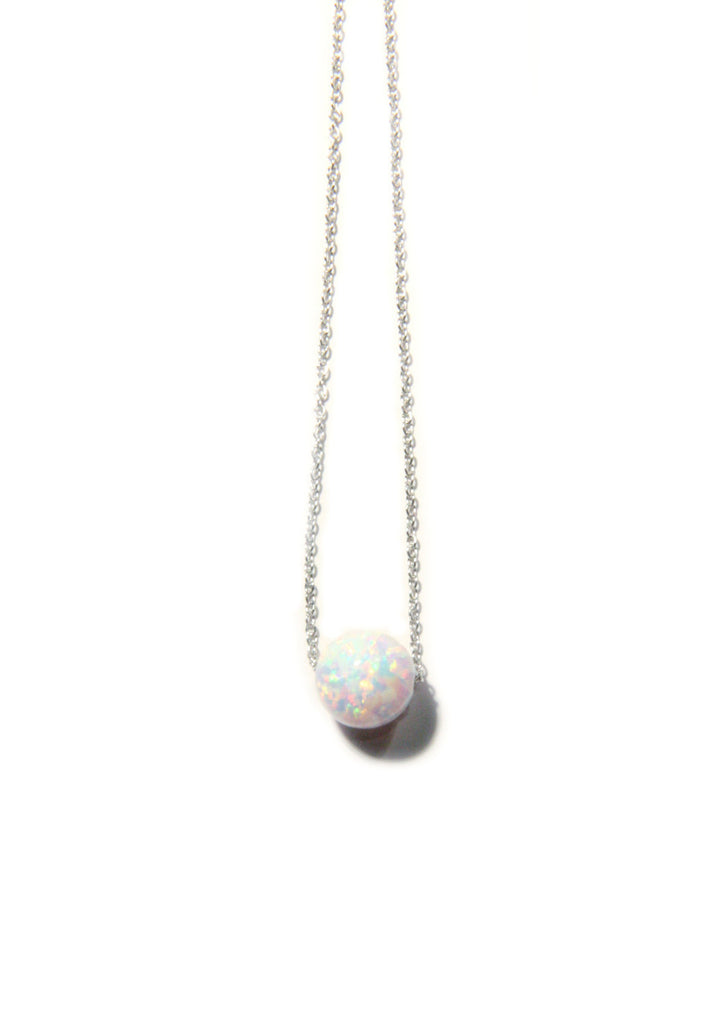 White Opal Sphere Necklace | Silver, Gold, Rose Gold | Light Years