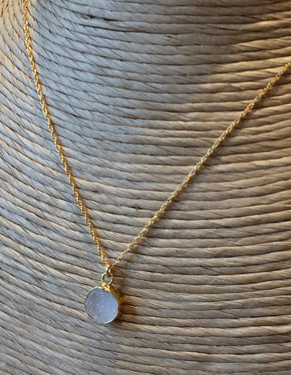 Ivory Druzy Disc Necklace, $30 | Gold Filled | Light Years Jewelry