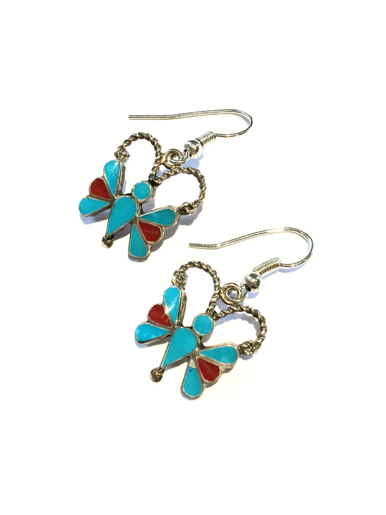 Zuni Turquoise Butterfly Earrings | Handmade Sterling Silver | Light Years