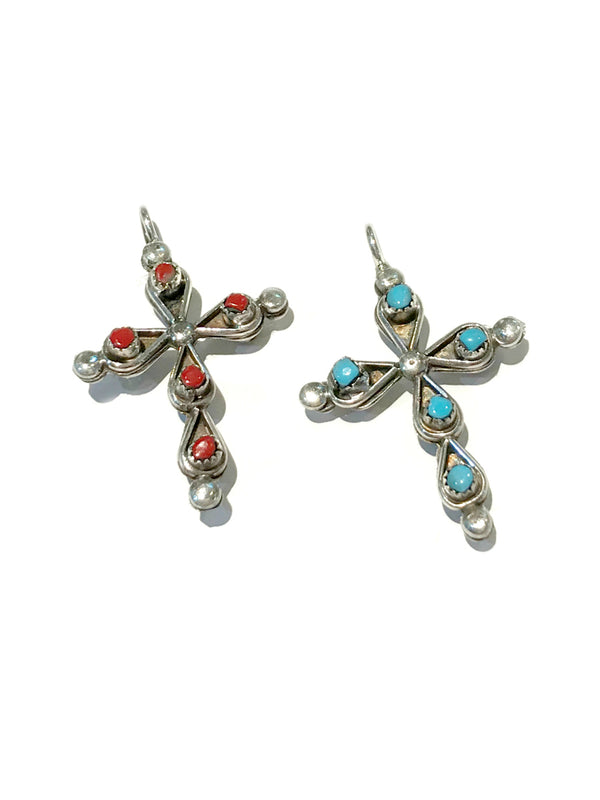 Reversible Zuni Cross Pendant | Turquoise Sterling Silver | Light Years