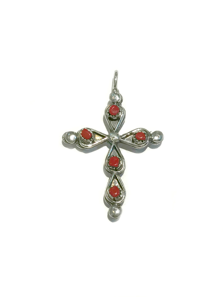 Reversible Zuni Cross Pendant | Red Coral Sterling Silver | Light Years