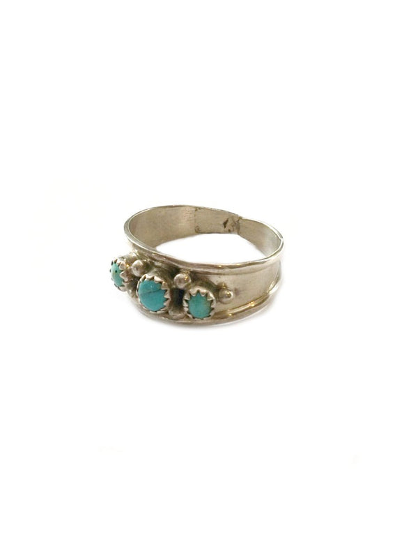 Handmade Three Stone Turquoise Ring | Size 10 11 12 | Sterling Silver