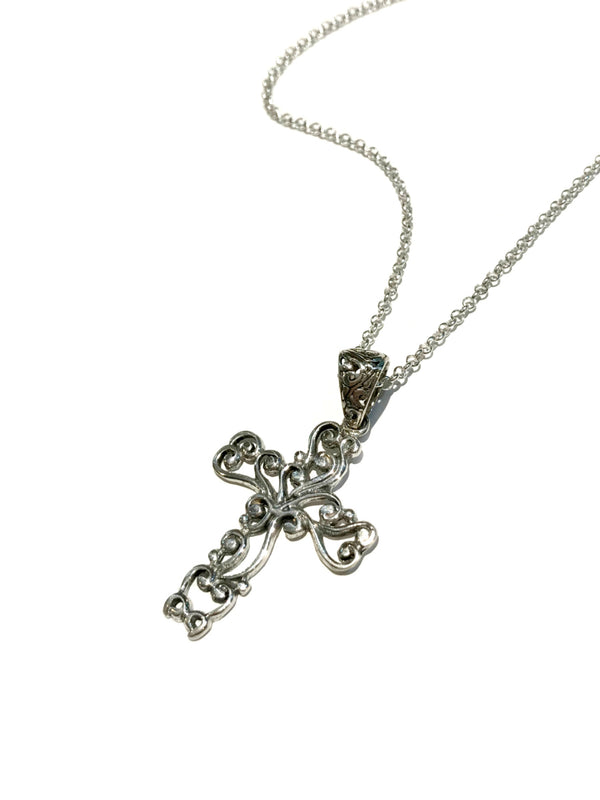 Swirled Cross Necklace | Sterling Silver Pendant Chain | Light Years