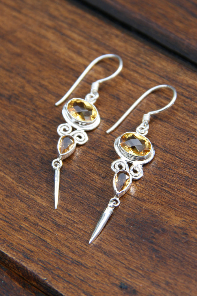 Gemstone Point Earrings, $35 | Sterling Silver Handmade | Light Years