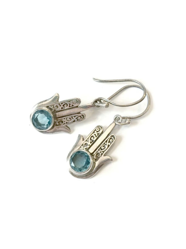 Gemstone Hamsa Dangle Earrings | Sterling Silver Handmade | Light Years