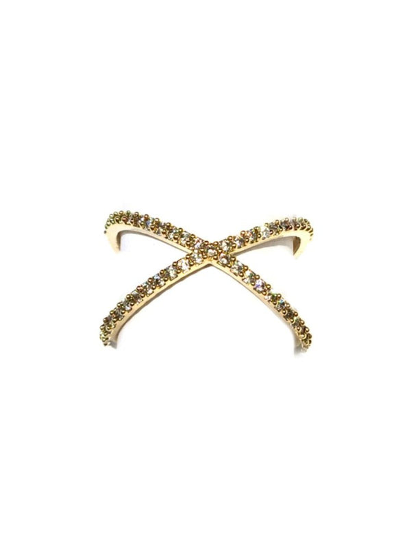 CZ Studded X Ring | Size 7 8 Gold Plated Crystal | Light Years Jewelry