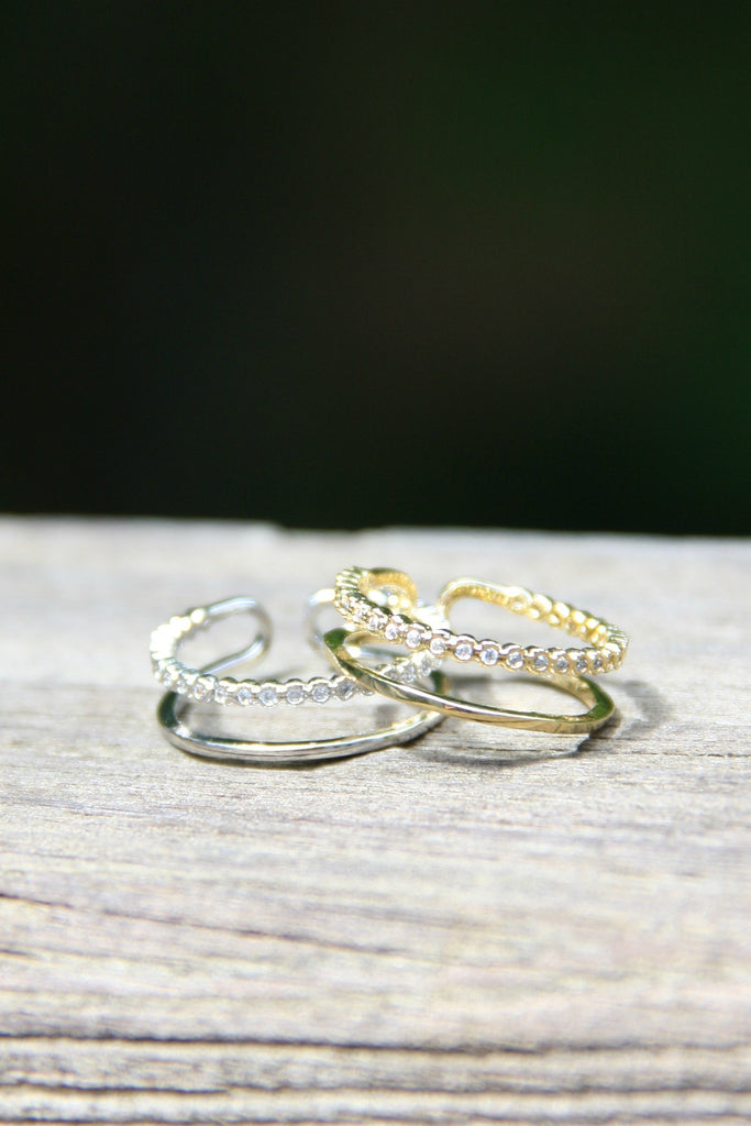 Double Band with CZ, $10 | Silver or Gold | Light Years Jewelry