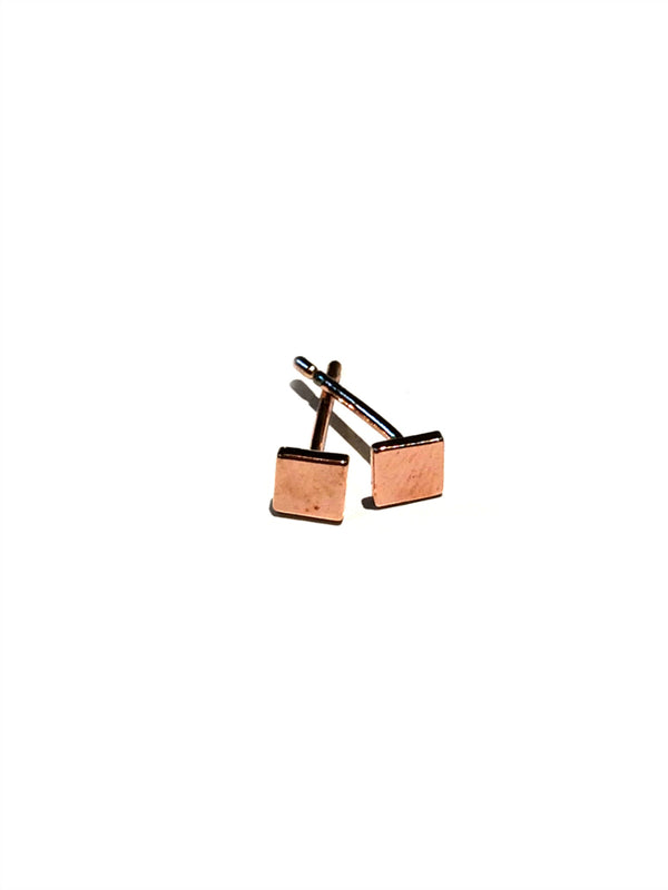 Flat Square Studs | Silver, Gold, Rose Gold Stud Earrings | Light Years